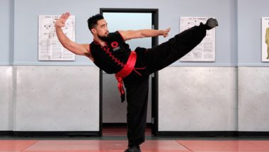 Image of a Combat Kung-Fu instructor demonstrating a side thrust kick