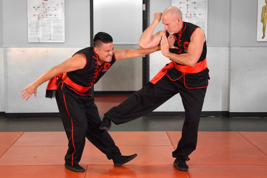 Image of Master Fisher using Choy Li Fut's joint locking moves for self-defense.