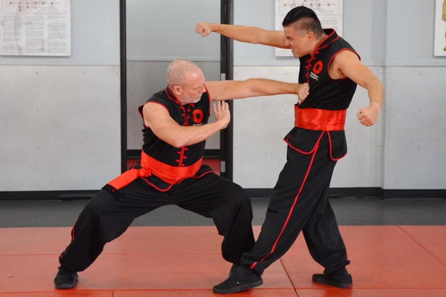 Master Nathan Fisher shows a palm strike in this image from a Combat Kung-Fu self-defense training video.