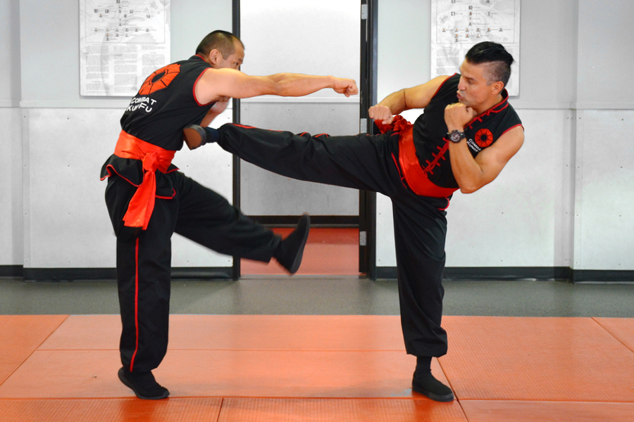 Tai Sifu delivers a side kick