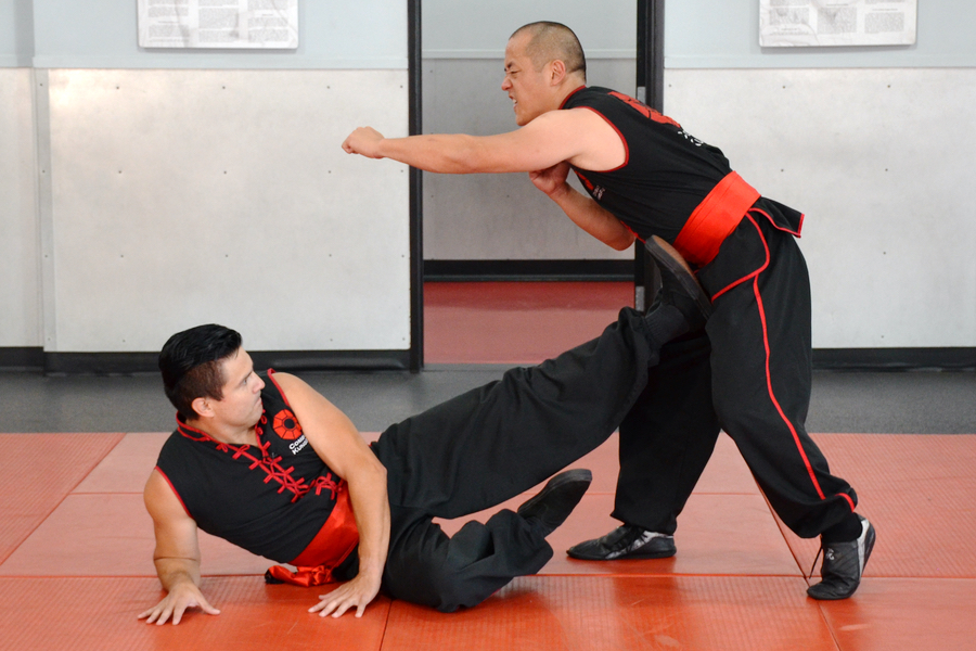 Image of one of Choy Li Fut Kung-Fu's many ground fighting kicks.
